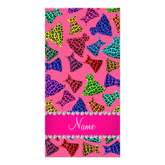 Personalized name pink rainbow leopard dresses photo card