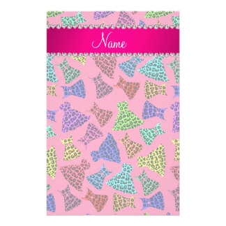 Personalized name pink rainbow leopard dresses stationery