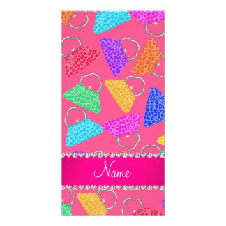 Personalized name pink rainbow leopard purses photo card