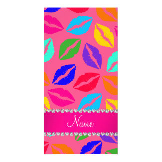 Personalized name pink rainbow lipstick kisses photo card