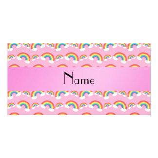 Personalized name pink rainbows photo cards