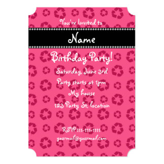 """Personalized name pink recycling pattern 5"""" x 7"""" invitation card"""