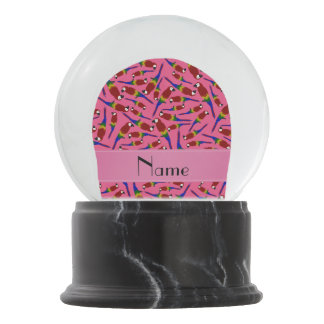 Personalized name pink red parrots snow globes