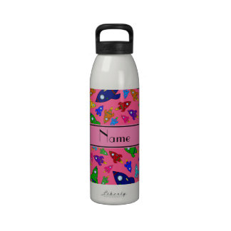 Personalized name pink rocket ships reusable water bottles