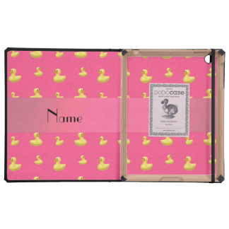 Personalized name pink rubber duck pattern cover for iPad