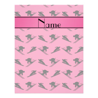 Personalized name pink ski pattern flyer