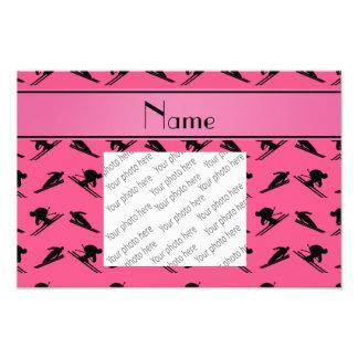 Personalized name pink ski pattern photo print