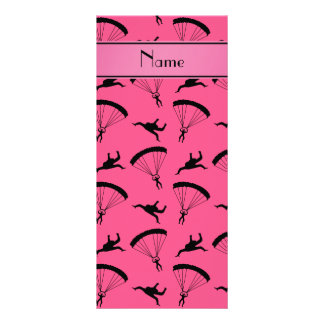 Personalized name pink skydiving pattern full color rack card