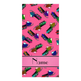 Personalized name pink snowmobiles photo card