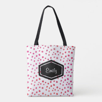 Personalized name pink spotty tote bag
