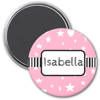 Personalized Name Pink Stars and Moons Magnet