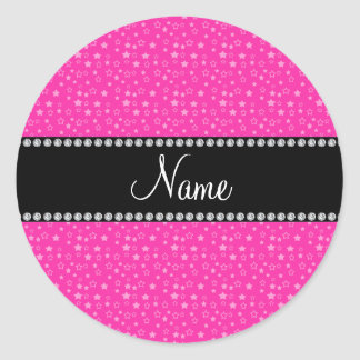 Personalized name pink stars round stickers