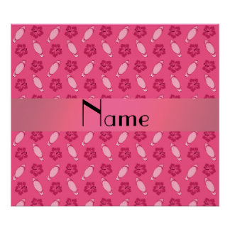 Personalized name pink surfboard pattern posters
