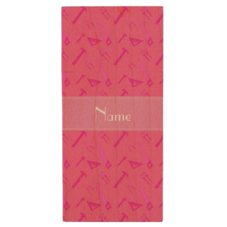 Personalized name pink tools pattern wood USB 2.0 flash drive