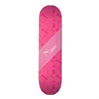 Personalized name pink tools pattern skateboards