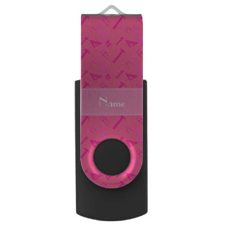 Personalized name pink tools pattern swivel USB 2.0 flash drive