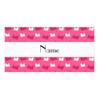 Personalized name pink train pattern photo card