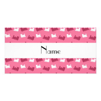 Personalized name pink train pattern photo card template