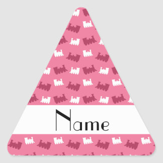 Personalized name pink train pattern triangle stickers