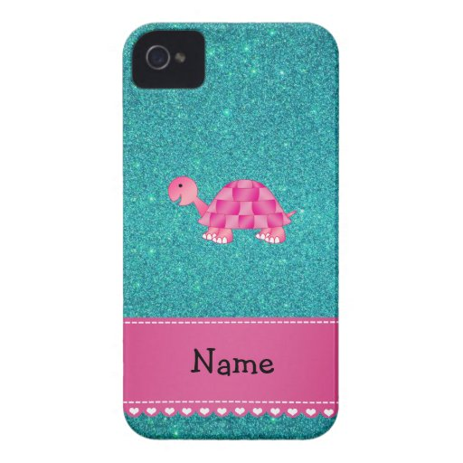 Personalized name pink turtle turquoise glitter iPhone 4 covers