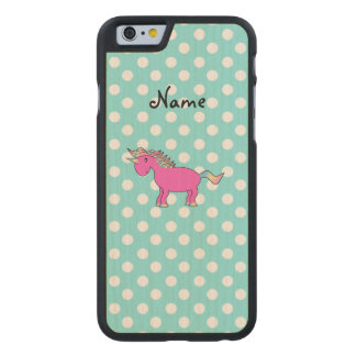 Personalized name pink unicorn blue polka dots carved® maple iPhone 6 case