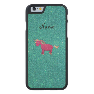 Personalized name pink unicorn turquoise glitter carved® maple iPhone 6 slim case