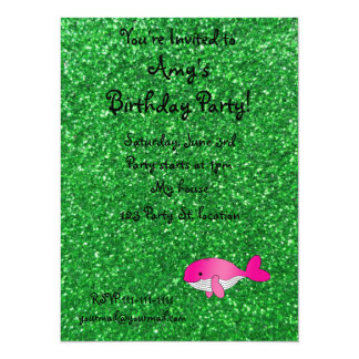 Personalized name pink whale green glitter 14 cm x 19 cm invitation card