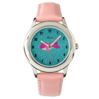 Personalized name pink white turquoise glitter watch