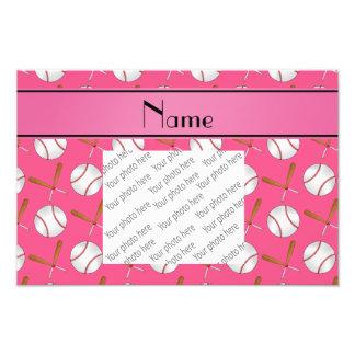 Personalized name pink wooden bats baseballs photo print