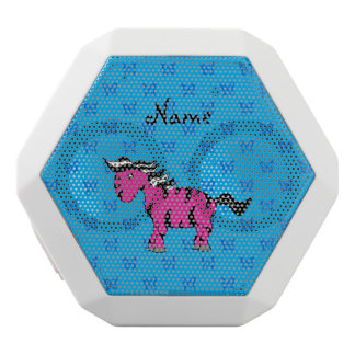Personalized name pink zebra blue butterflies