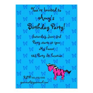 Personalized name pink zebra blue butterflies 14 cm x 19 cm invitation card