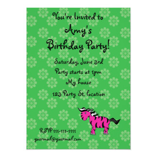 """Personalized name pink zebra green flowers 5.5"""" x 7.5"""" invitation card"""
