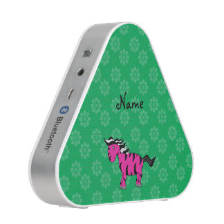 Personalized name pink zebra green flowers