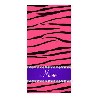 Personalized name pink zebra stripes purple stripe photo card