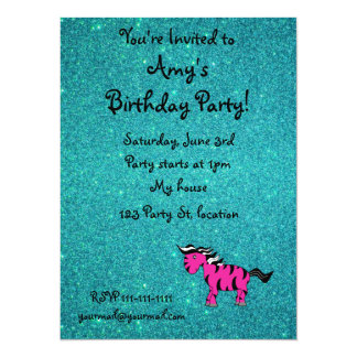 "Personalized name pink zebra turquoise glitter 5.5"" x 7.5"" invitation card"