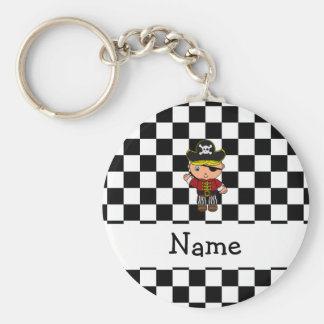 Personalized name pirate black white checkers basic round button key ring