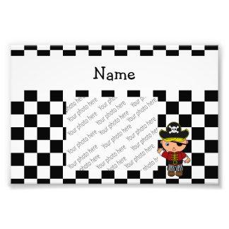 Personalized name pirate black white checkers photo