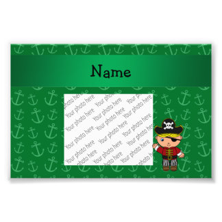 Personalized name pirate green anchors photo