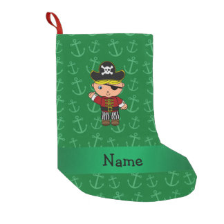 Personalized name pirate green anchors small christmas stocking