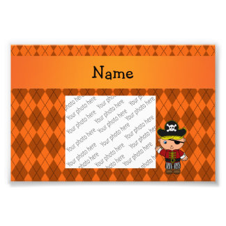 Personalized name pirate orange argyle photo print