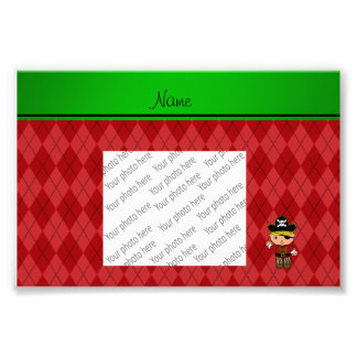 Personalized name pirate red argyle photo