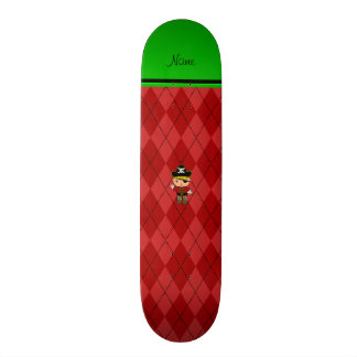 Personalized name pirate red argyle skate deck