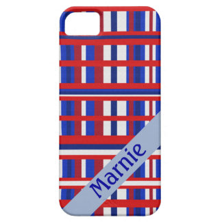 Personalized Name Plaid Patriot Red White & Blue iPhone 5 Covers