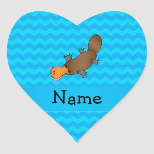 Personalized name platypus blue chevrons stickers