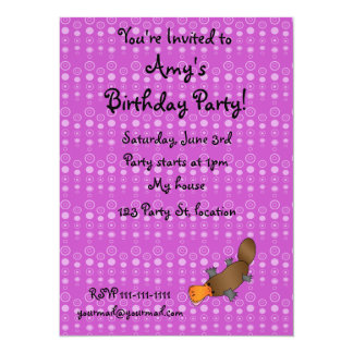 Personalized name platypus purple bubbles personalized invites