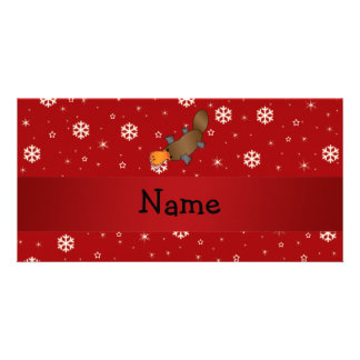 Personalized name platypus red snowflakes photo greeting card