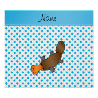Personalized name platypus white blue stars poster