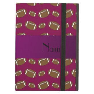 Personalized name plum purple footballs iPad air covers