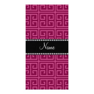 Personalized name plum purple greek key pattern customized photo card