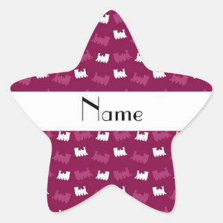 Personalized name plum purple train pattern star sticker